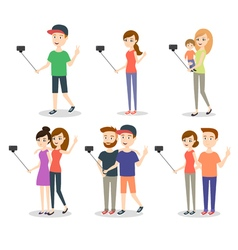 People making selfie Couples and friends woman vector