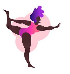 Plus size black curvy lady doing yoga class vector