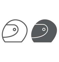 racing helmet line and glyph icon protection and vector image