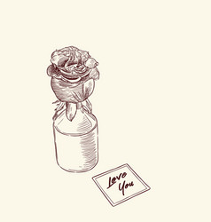 rose in vase with note love you hand draw vector image