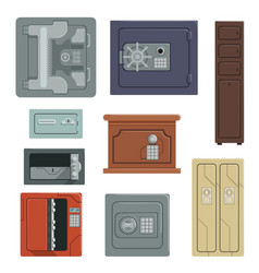 Safes for saving money and documents set property vector