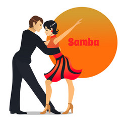 Samba dancing couple in cartoon style vector