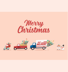 santa claus ride a motorbike following trucks vector image