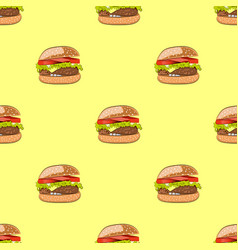 seamless pattern with hamburger or burger vector image