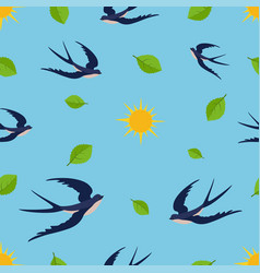 Seamless pattern with swallow on blue sky green vector