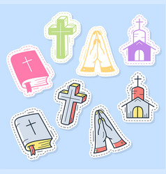 set christian stickers pins patches vector image