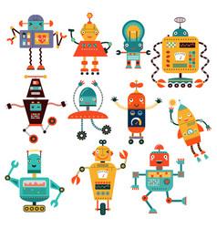 set cute robots vector image