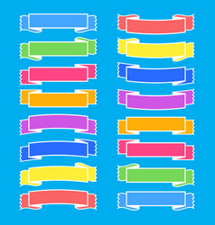 Set of colored isolated banner ribbons on a blue vector