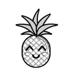 Silhouette kawaii cute thinking pineapple vector