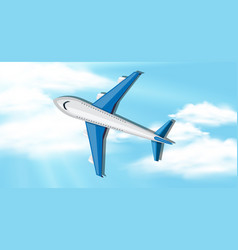 sky background with airplane flying vector image