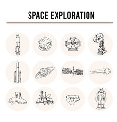 space exploration isolated hand drawn doodles vector image