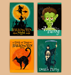 Stylized retro posters for Halloween party vector