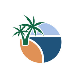 summer palm beach view graphic design vector image