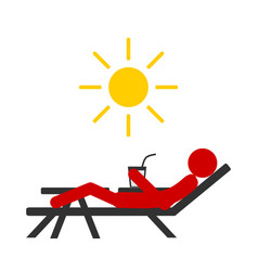 Sunburn people on sun lounger without protection vector
