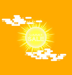 super summer sale banner with sun and cloud on the vector image