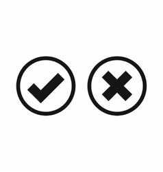 Tick and cross selection icon simple style vector
