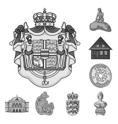 Traveling in denmark monochrome icons in set vector