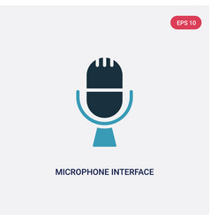 Two color microphone interface icon from vector