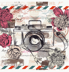 Vintage retro camera and flowers vector