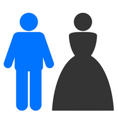 wedding couple flat icon vector image