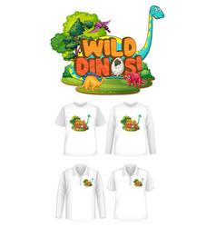 wild dinos font and dinosaur cartoon character vector image