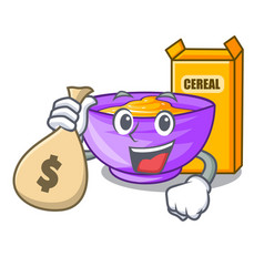 With money bag cereal box in a cartoon bowl vector