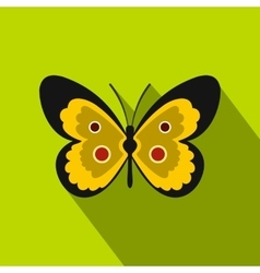Yellow butterfly icon flat style vector
