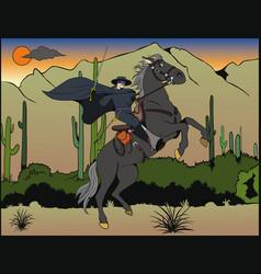 zorro riding in desert vector image