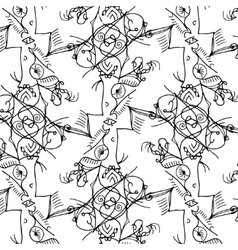 black lace floral pattern on white background vector image