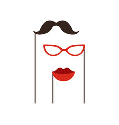 black mustache red glasses and lips on sticks vector image