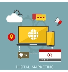 Digital marketing flat vector image