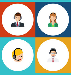 Flat hotline set of call center secretary help vector