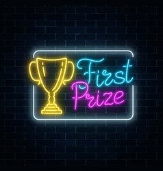 Glowing neon sign with award cup and first prize vector