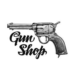 Hand drawn retro firearm antique arms gun vector