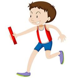Runner running relay on white vector image vector image