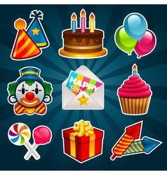 Happy Birthday Party Icons vector image vector image