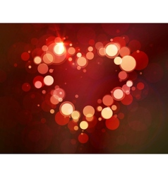Shiny heart bokeh light Valentines day vector image