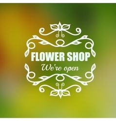 vintage badge for flower shop vector image vector image