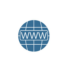 www and globe internet flat icon website browser vector image