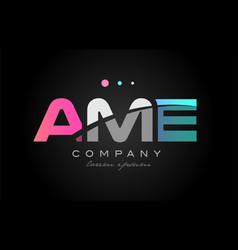 ame a m e three letter logo icon design vector image vector image