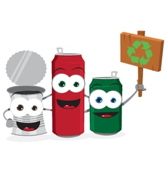 Funny Empty Cans Holding Recycling Sign vector image vector image