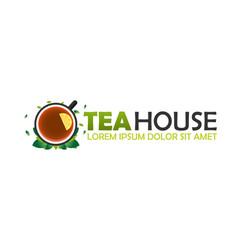 tea house logo company tea logo logo vector image