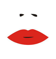 woman nose and red lips sexy woman face vector image