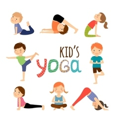 Yoga kids set vector image vector image
