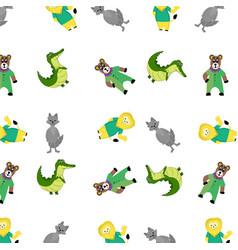 zoo pattern with cartoon animal vector image