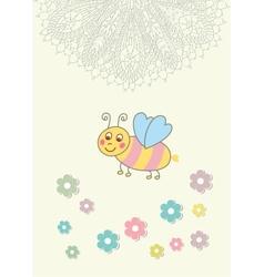 Beautiful baby vintage greeting card vector image