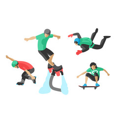 Drawing jumping extremesilhouettes vector