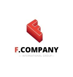 isometric gradient F letter logo Company vector image