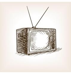 TV set sketch style vector image