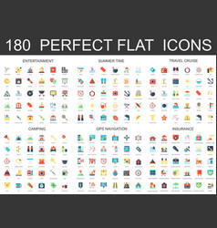 180 modern flat icons set entertainment summer vector image